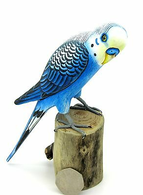 SMALL BLUE WHITE BUDGIE HAND PAINTED ornament Budgerigar BIRD Bamboo Figure GIFT