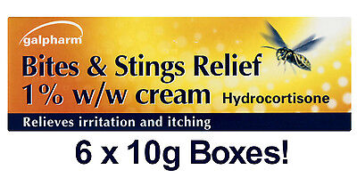 6 x HYDROCORTISONE 1% BITE & STING RELIEF CREAM - 10g - SOOTHING