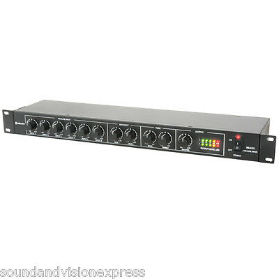 """Adastra ML622 6 Channel Microphone or Line PA Mixer + 2x AUX 19"""" 1U Rackmount"""