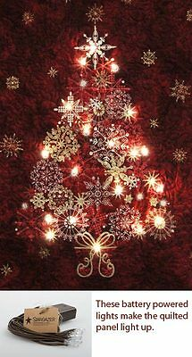 Starry Night Christmas Tree Panel Fabric Finished Quilted Wall Hang -Red M403.17