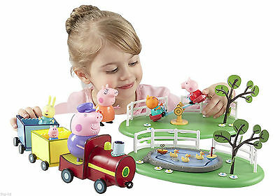 Peppa Pig Fun In The Park Playset Toy With Grandpa Train 5 Figures New 3+