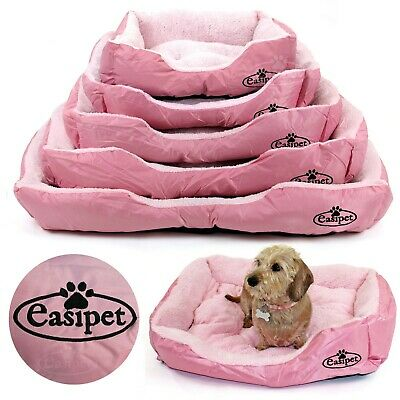 Pink Dog Bed Pet Cat Puppy Faux Fur Soft Fleece Deluxe Cushion 4 sizes Easipet