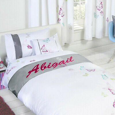Personalised Butterfly Duvet Cover with Pillow Case Bedding Set Custom Girl Name