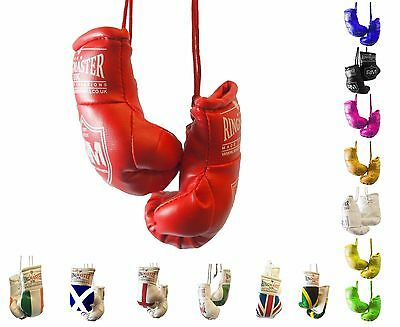 RingMasterUK Mini Boxing Gloves Car Hanger Van Rear Mirror Gift Flags