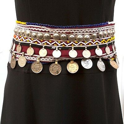 Gypsy Kuchi Tribal Embroidered Fabric Waist Belt with Metal Coins Beads Pearls G