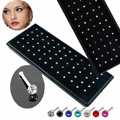 60x Rhinestone Crystal Nose Ring Bone Stud Stainless Steel Body Piercing Jewelry