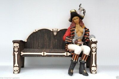 Pirate Statue - Pirate Decor - Female Pirate on Bench Life Size Statue 3.5FT