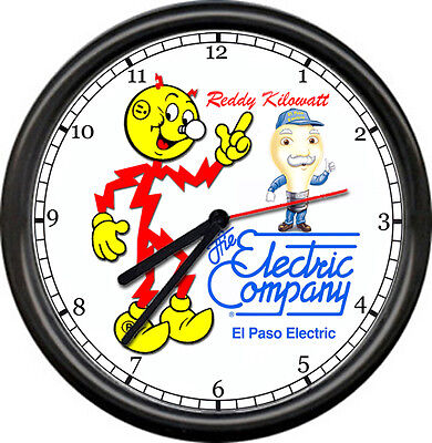 Reddy Kilowatt El Paso Texas TX Power Electric Electrician Tool Sign Wall Clock