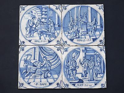 4x Delft Blue Tiles Biblical 18th century