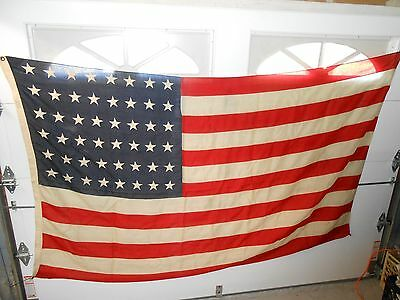 """Vintage STERLING BUNTING ALL WOOL DOUBLE WARP 48 Star U.S. Flag, Large 57 x 92"""""""