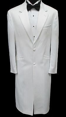 Very Long White Two Button Satin Notch Lapel Tuxedo Jacket Frock Coat Duster