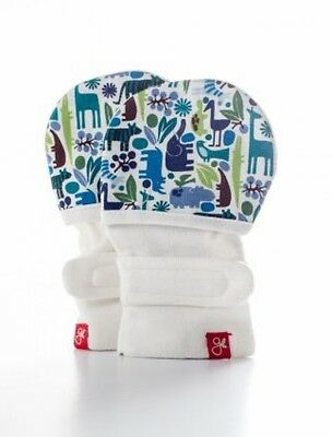 *NEW Guavamitts Stay-On Baby Mittens Blue Tiny Zoo Size M/L Fits Baby 15-21 Lbs