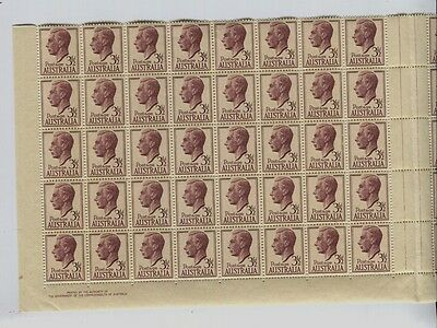 Australia SG #247 MNH GVI Gutter Block of 80 Folded 2 By Authority Imprints