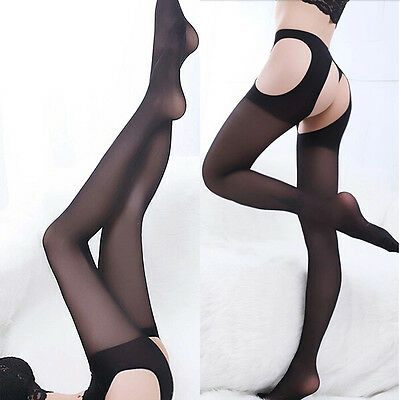 Women's Glossy Stocking Crotchless Sexy Open Sheer Suspender Pantyhose Tights