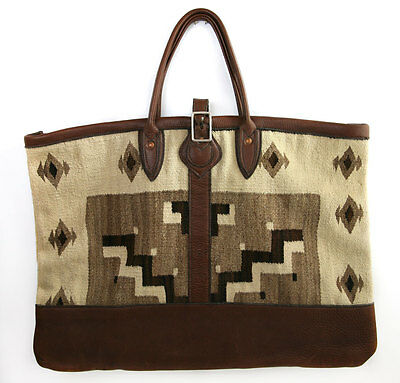 """Leather Luggage Bag with c. 1910 Navajo Crystal Textile Inlay, 17.5"""" x 24"""""""
