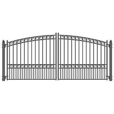 ALEKO Paris Style Ornamental Iron Wrought Dual Driveway Gate 14' High Quality