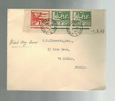 1943 Occupied Jersey Channel Island first day cover fdc England to St Helier