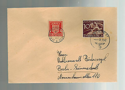 1942 Occupied Jersey Channel Island Feldpost Cover # P2 to Berlin Mixed Franking