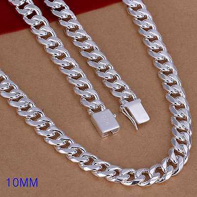 Fashion 925Sterling Solid Silver Men Jewelry 10MM Chain Necklace 20inch N011