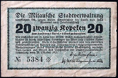 MITAU 1915 20 Kopeken German/Latvian WWI Occupation Notgeld Jelgava Bilingual