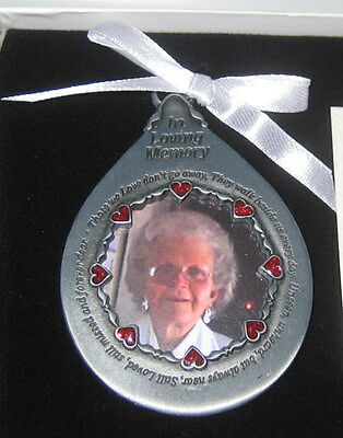 Memorial Photo Ornament In Loving Memory Teardrop Those We Love Don't Go Away