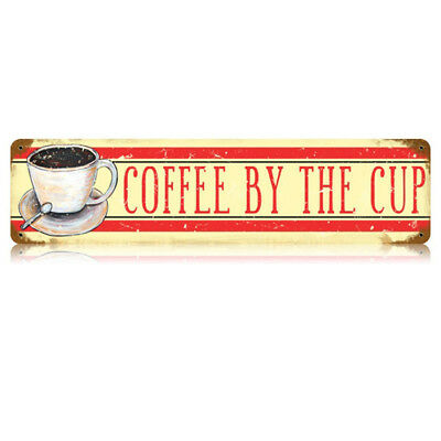 Coffee by the Cup Metal Sign Wide Distressed Vintage Cafe Diner Decor 20 x 5