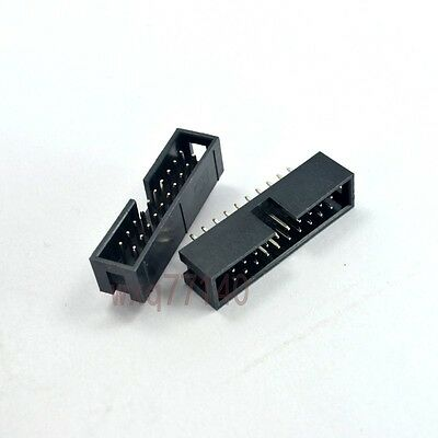 10pcs 2.54mm 2x10 20 Pin Straight Male Shrouded IDC Box Header Connector Socket