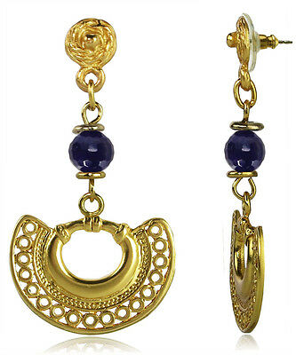 ACROSS THE PUDDLE 24k GP PreColumbian Nose Ring with Amethyst Dangle Earrings