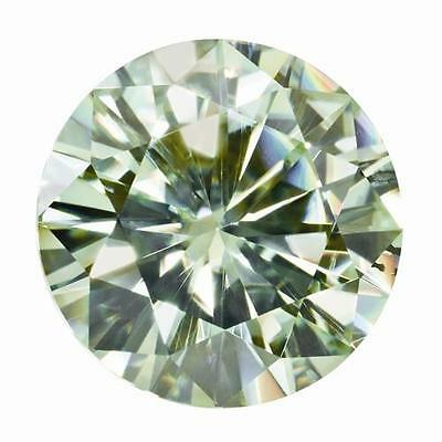 1 Round Cut Moissanite Fancy Light Green 8.5mm Diameter 1.95 tcw Loose Stone