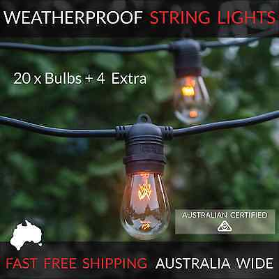 20m Black Festoon String Lights | Waterproof Outdoor | Wedding Party Patio