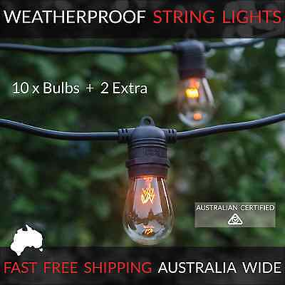 10m Black Festoon String Lights | Waterproof Outdoor | Wedding Party | Patio