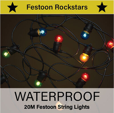 20m Black Festoon String Lights | Coloured Carnival Party Globes | Outdoor Patio