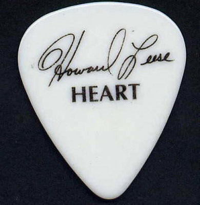 Heart Howard Leese Early 1990s Black on White Blank Back Signature Guitar Pick