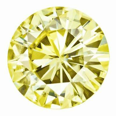 1 Round Cut Brilliant Moissanite Fancy Yellow 7.5mm Diameter 1.50 tw Loose Stone