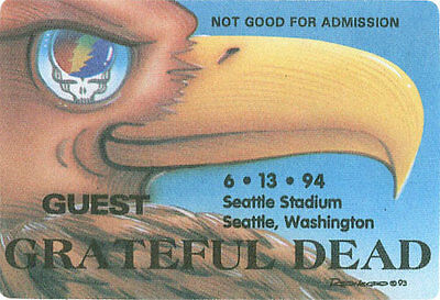 Grateful Dead  RARE 6/13/1994 Seattle Stadium Backstage Pass - Tony Reonegro Art