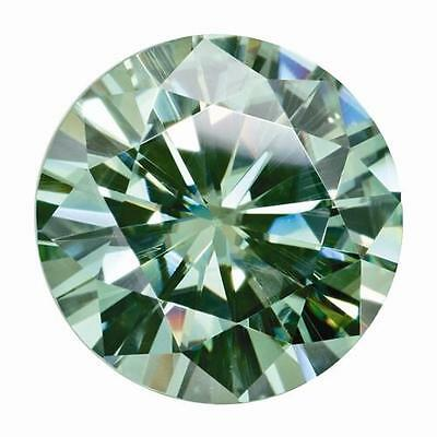 1 Round Cut Brilliant Moissanite Fancy Green 7mm Diameter 1.20 tw Loose Stone