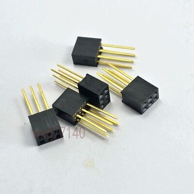 20pcs 2.54mm 2x3 6 pin Double Row Stackable Long Legs Female Header For PC104