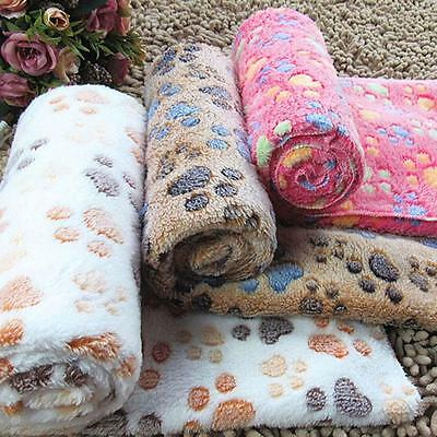 Warm Pet dog Mat Small Large Paw Print Cat Dog Puppy Fleece Soft Blanket Cushion