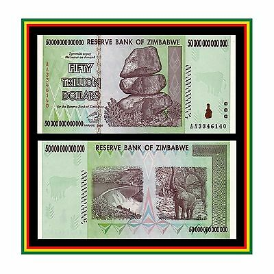 50 TRILLION ZIMBABWE DOLLAR MONEY CURRENCY.uncirculated (UNC) * 10 20 100 *