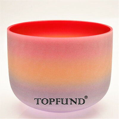 Rainbow Colored C Root Chakra Frosted Quartz Crystal Singing Bowl 20 cm