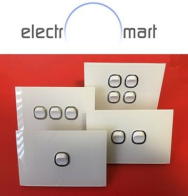 Glass Look Saturn Chrome Slim Light Switch and GPO Power Points SAA Approved