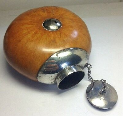 Antique 800 Solid Sterling Silver Large Unusual Genuine Gourd Drinking Flask
