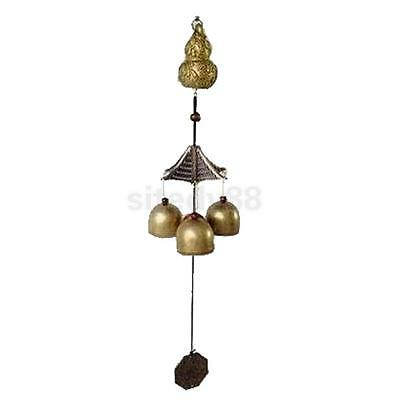 Chinese Calabash Copper Bell Feng Shui Hanging Wind Chime 3 Bells Ornament