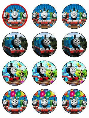 "Thomas The Tank Engine 2"" Real Cupcakes Edible Icing Image Cake Toppers 12"