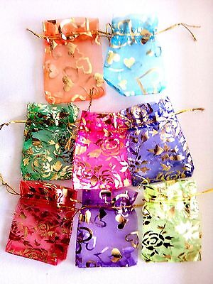 Fabric Drawstring Gift Bags Mixed Colours 25 bags- UK Seller