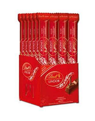 LINDT LINDOR MILK CHOCOLATE BAR 38g X 12 INDIVIDUALLY WRAPPED