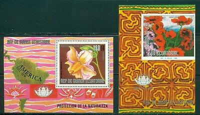 Equatorial Guinea Michel BLK 232-233 MNH Protection of Environment Flowers Map $
