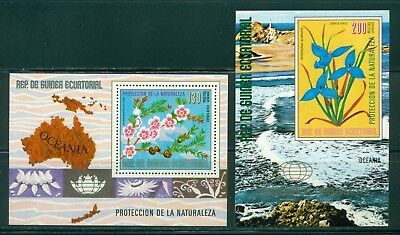 Equatorial Guinea Michel BLK 234-235 MNH Protection of Environment Flowers Map $