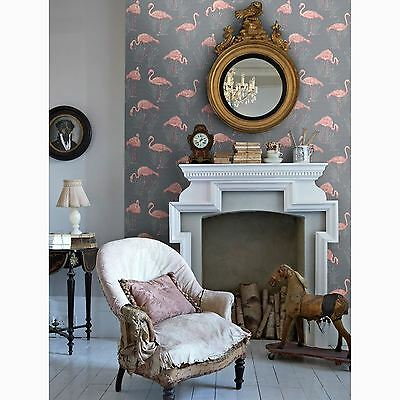 Lagoon Flamingo Grey Coral Wallpaper - Arthouse Vintage 252603 - New