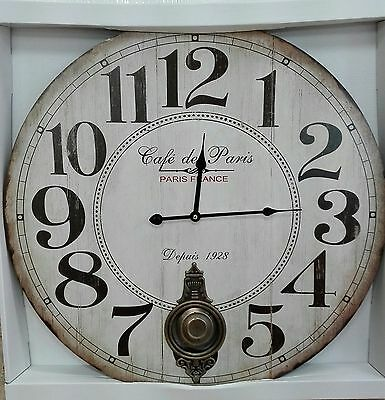 "Reloj Pared Vintage Con Pendulo 58 Cm.  "" Cafe De Paris """